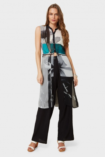 W Dragonfly Print Button Up Sleeveless Kurti
