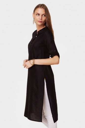 AURELIA Solid Roll-Up Sleeves Kurti