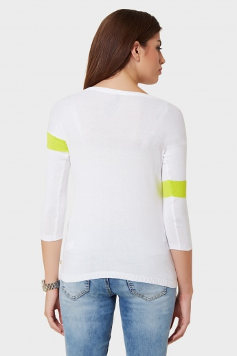UNITED COLORS OF BENETTON Rips Block 3/4th Sleeve Top