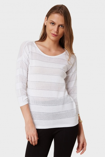 UNITED COLORS OF BENETTON Perforated Striped Top