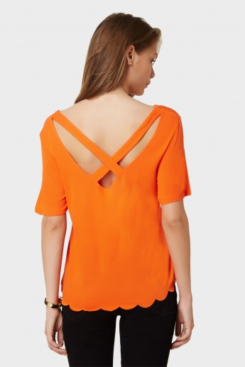 UNITED COLORS OF BENETTON Solid Curve Hem Top