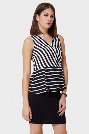 UNITED COLORS OF BENETTON Striped Maze Peplum Top