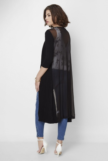 GINGER Solid 3/4th Sleeves Maxi Shrug