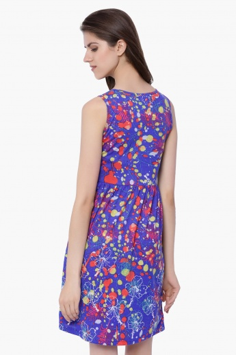 GLOBAL DESI Printed Sleeveless Dress