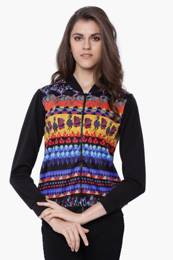 GLOBAL DESI Printed Zip-Through Jacket