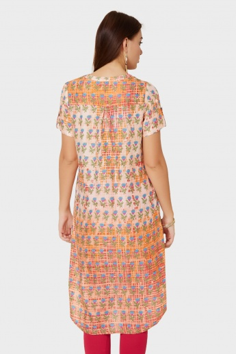 GLOBAL DESI Printed High Low Hem Kurta