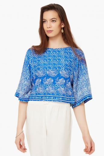 GLOBAL DESI Printed Kimono Sleeves Top
