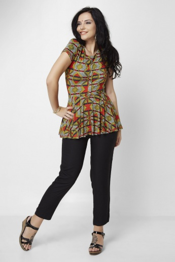 GLOBAL DESI Printed Round Neck Kurti