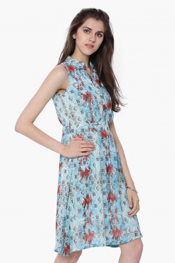 GLOBAL DESI Printed Shirt Collar Dress
