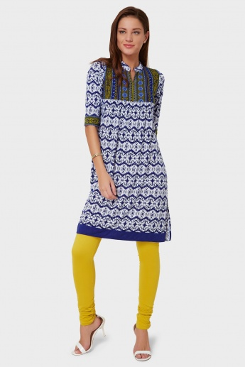 FUSION BEATS Printed Band Collar Kurti