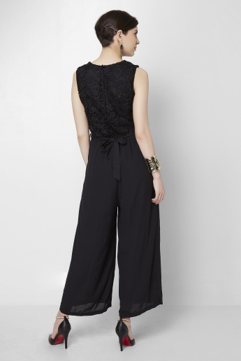 CODE Shimmer Lace Belted Jumpsuit