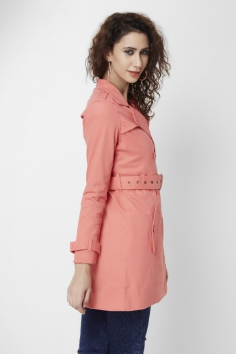 BOSSINI Solid Belted Trench Coat
