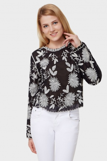 GINGER Floral Embroidered Full Sleeves Top
