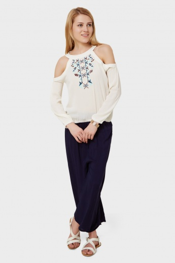 GINGER Embroidered Cold Shoulder Top