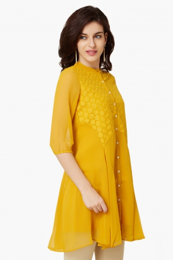 FUSION BEATS Button Up Flared Kurti