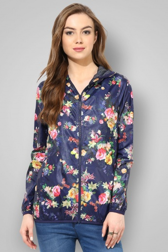 BOSSINI Floral Printed Full Sleeves Zip Closure Hooded Jacket