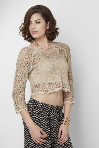 GINGER Solid Lace 3/4th Sleeves Crop Top