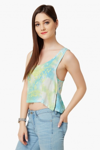 GINGER Embroidered Tie-Dye Print Top