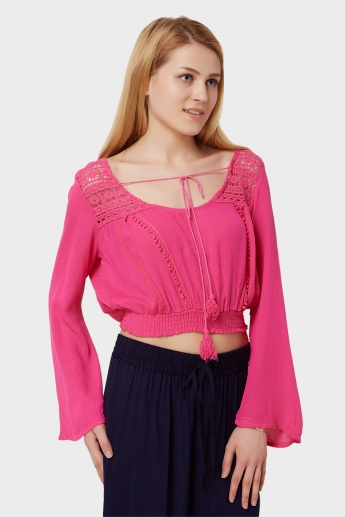 GINGER Moroccan Tie-Up Crop Top