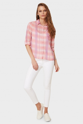 BOSSINI Roll-Up Sleeves Check Shirt
