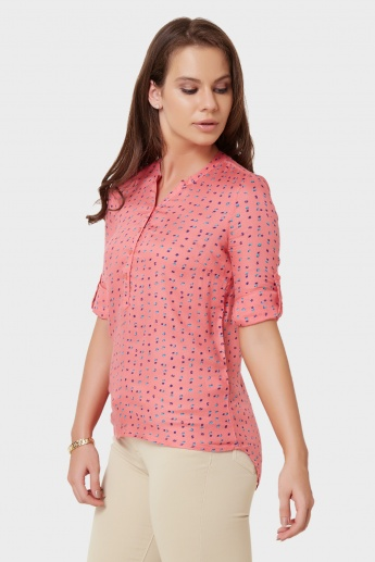 BOSSINI Printed Roll-Up Sleeves Blouse