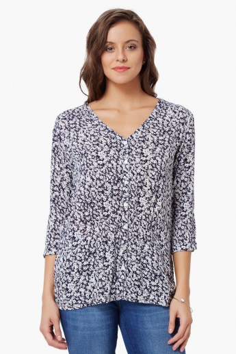 BOSSINI Ditsy Print Pleated Blouse