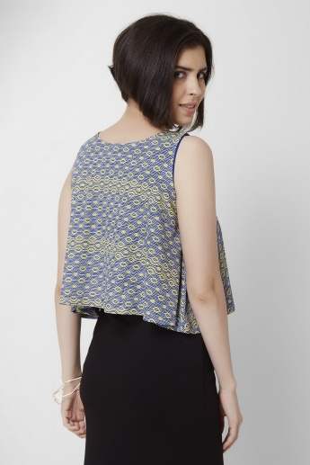 AND Sleeveless Flared Hem Crop Top