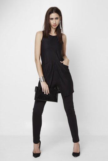 AND Front-Slit Round Neck Top