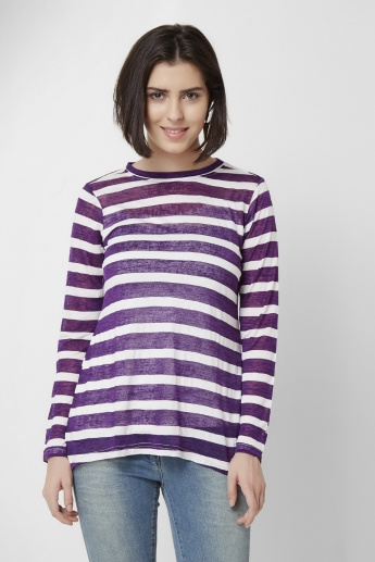AND Striped Full Sleeves Top
