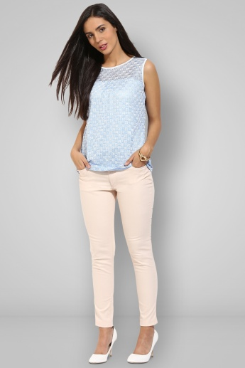 AND Textured Round Neck Sleeveless Top