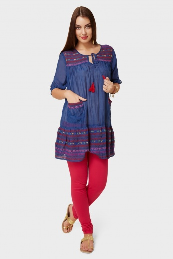 GLOBAL DESI Front Pocket Natural Dye Kurti