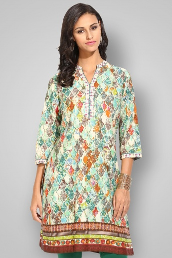 BIBA Band Collar 3/4th Sleeves Printed Kurta