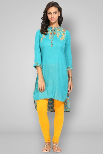 BIBA Band Collar Full Sleeves Kurta