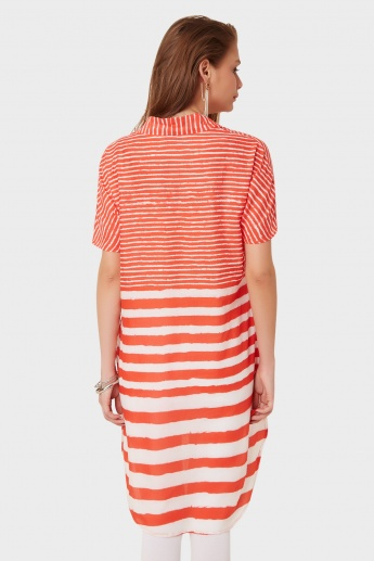 BIBA Striped High Low Kurti