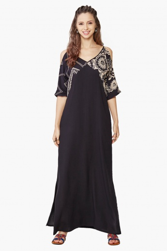 GLOBAL DESI Cold Shoulder Maxi Dress
