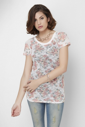 GINGER Floral Printed Round Neck Knitted Top