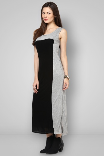 BOSSINI Dual Tone Round Neck Sleeveless Maxi Dress