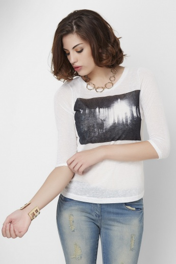 BOSSINI Chest Printed 3/4th Sleeves Top