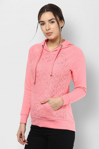 BOSSINI Hooded Lace Overlay Pullover