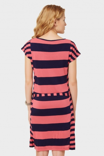 BOSSINI Striped Waist Tie-Up Dress