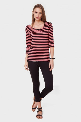 BOSSINI Striped 3/4th Sleeves Top