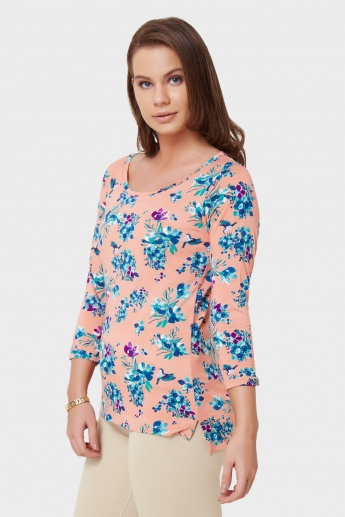 BOSSINI Floral Print Round Neck Top