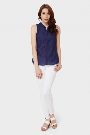 BOSSINI Sleeveless Band Collar Blouse