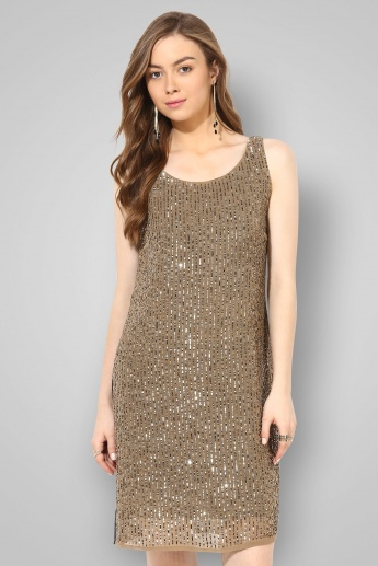 CODE Sleeveless All Over Sequin Dress