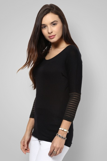 CODE Ribbed Sleeves Solid Top