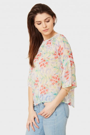 CODE Floral Bell Sleeves Top