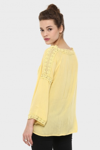 CODE Lace Trim Bell Sleeves Boho Top