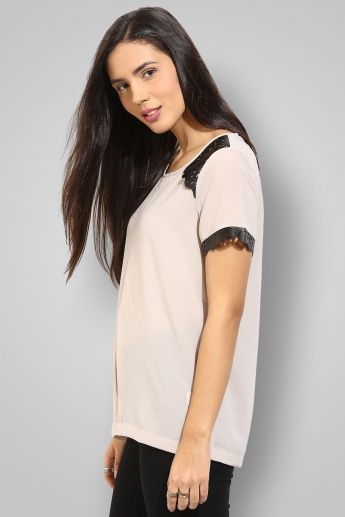 CODE Round Neck Half Sleeves Laser Cut Top
