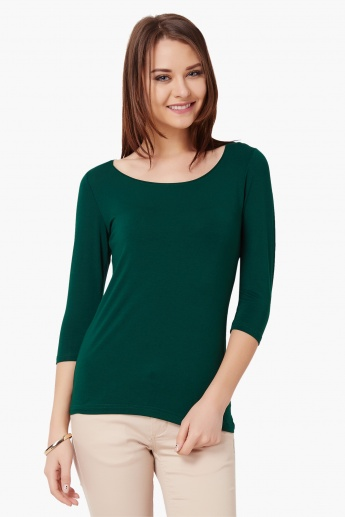 CODE Solid Round Neck Top
