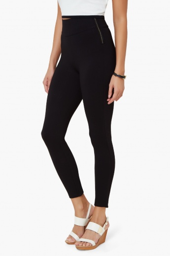 6d7ba7e4914243 CODE High Waist Side-Zip Leggings | Black